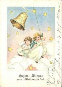Petersen Hannes Weihnachten Glocke Engel Wolken Sterne Kat. Kuenstlerkarte