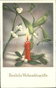 Weihnachten Mistel Kerze  Kat. Greetings