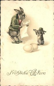 Vermenschlicht Hasen Lehrer Eier Schueler Ostern Kat. Kuenstlerkarte