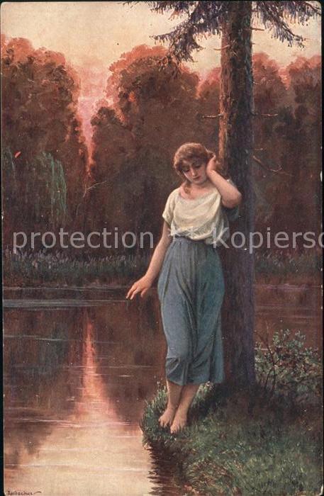 Kuenstlerkarte Ad. Liebscher Verlassen Nr. 1056 Kat. Kuenstlerkarte