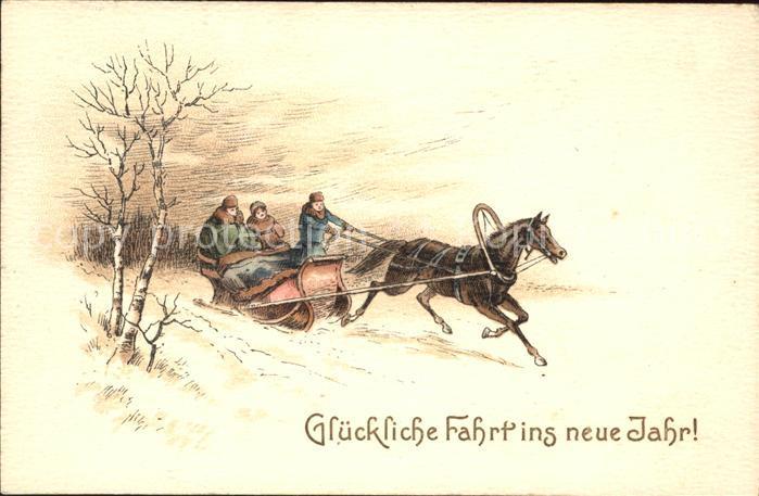 Schlitten Schnee Pferdeschlitten Neujahr  Kat. Sport