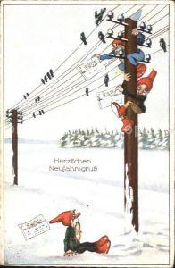 Zwerge Strommast Neujahr Voegel  Kat. Maerchen und Sagen