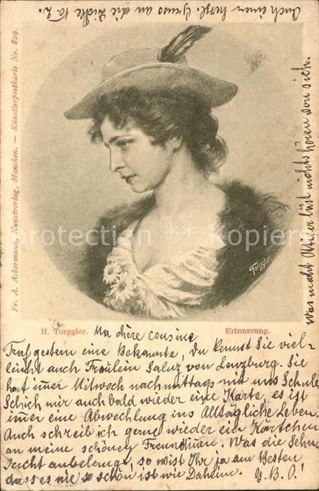 Kuenstlerkarte H. Torggler Erinnerung Nr. 829 Frau Hut  Kat. Kuenstlerkarte