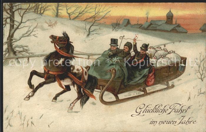 Schlitten Schnee Pferdeschlitten Neujahr Pferd Kat. Sport