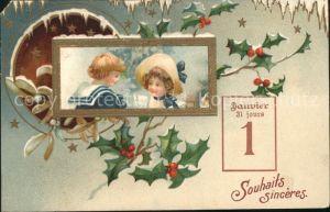 Datumskarte 1. Januar Neujahr Kinder Mistel Stechpalme Kat. Besonderheiten