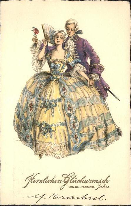 Faecher Paar Barock Barock Kleidung Neujahr  Kat. Mode