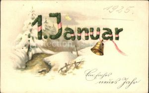 Datumskarte 1. Januar Neujahr Glocke Kat. Besonderheiten