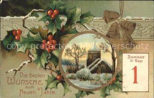 Datumskarte 1. Januar Neujahr Stechpalme Kirchenglocken Kat. Besonderheiten