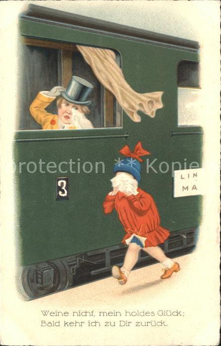 Eisenbahn Abschied weinen Zylinder Gedicht Spruch Kat. Eisenbahn