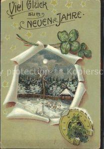 Neujahr Kleeblatt Hufeisen Sterne Kat. Greetings