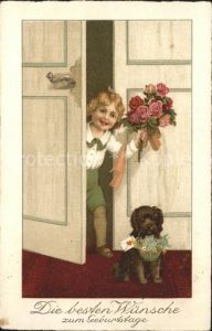 Kinder Child Enfants Hund Rosen Geburtstag Kat. Kinder