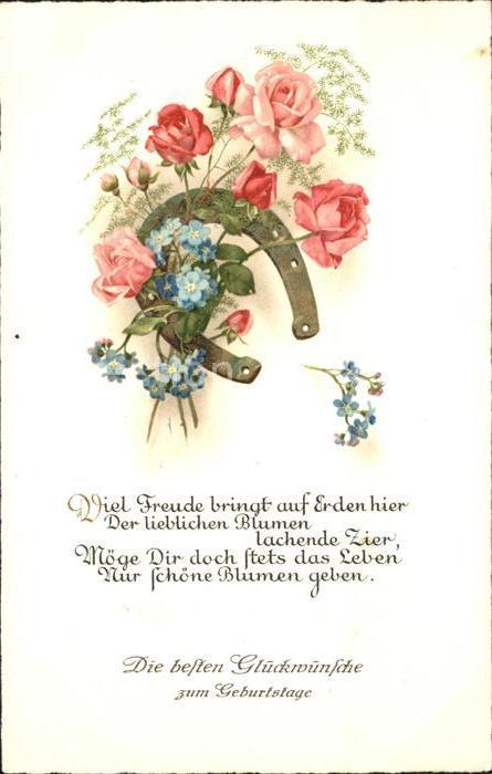 Hufeisen Rosen Vergissmeinnicht Gedicht Geburtstag Kat Greetings