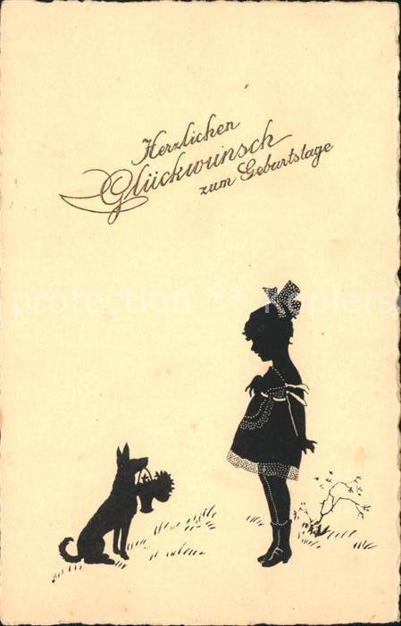 Scherenschnitt Schattenbildkarte Kind Maedchen Hund Glueckwunsch
