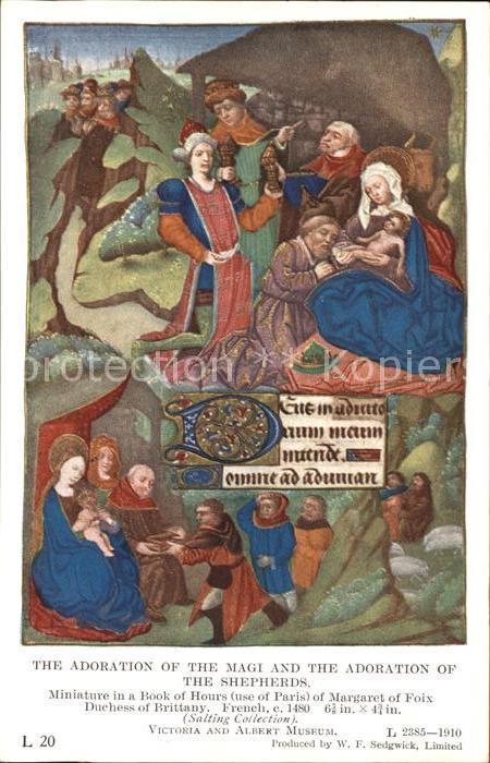 Kuenstlerkarte Margaret of Foix The Adoration of the Magi and the Adoration of the Shepherds Kat. Kuenstlerkarte