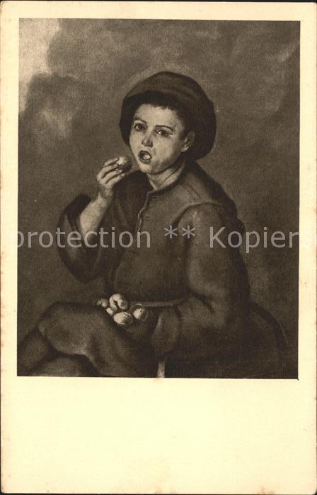 Kuenstlerkarte Barth. Est. Murillo Der Pfirsichesser Nr. 113  Kat. Kuenstlerkarte