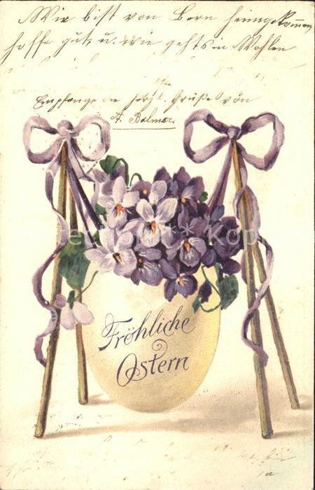 Ostern Easter Paques Ei Veilchen Schleife Litho / Greetings /
