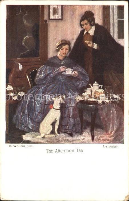 Kuenstlerkarte H. Wollner The Afternoon Tea Hund  Kat. Kuenstlerkarte