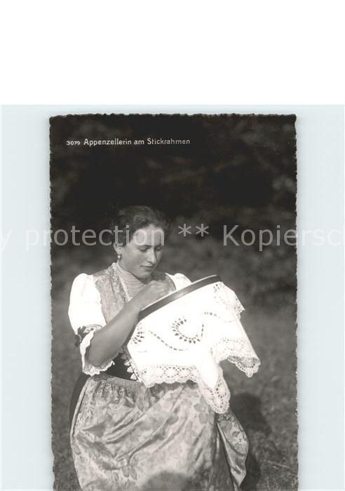Handarbeit sticken Stickrahmen Frau Tracht Appenzell Kat. Handarbeit