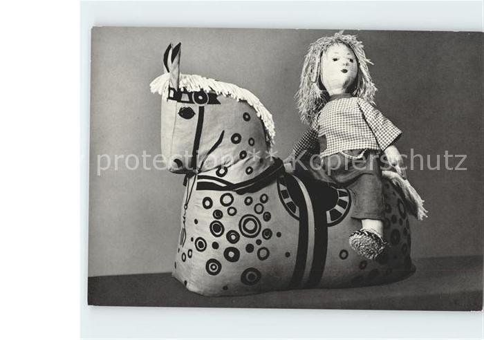 Puppen Stoffpferd Schweden Bast Puppe  Kat. Spielzeug