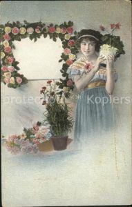 Blumen Rosen Frau Voro matt Nr. 3820 Kat. Pflanzen