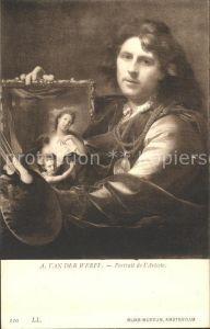 Kuenstlerkarte A. van der Werff Portrait de l Artiste Nr. 110 Kat. Kuenstlerkarte