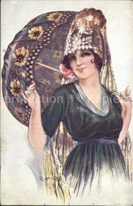 Kuenstlerkarte R. Mir Tipe Espanol Sombrilla Frau Schirm  Kat. Kuenstlerkarte