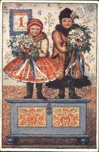 Neujahr Kinder Trachten Wintermode Blumen Gedicht Polen Kat. Greetings