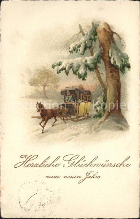Schlitten Schnee Pferdeschlitten Pferdekutsche  Neujahr Litho  Kat. Sport