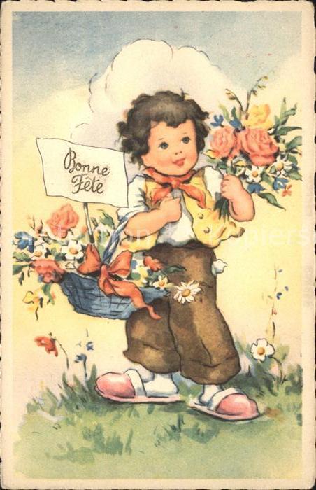 Kinder Child Enfants Rosen Gaensebluemchen Korb Bonne Fete  Kat. Kinder