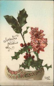 Weihnachten Stechpalme Holzschuh Nelke Verlag Super Nr. 781 Kat. Greetings