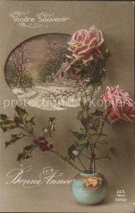 Verlag DIX Paris Nr. 2096 1 Neujahr Rosen Stechpalme Mistel Vase  Kat. Verlage