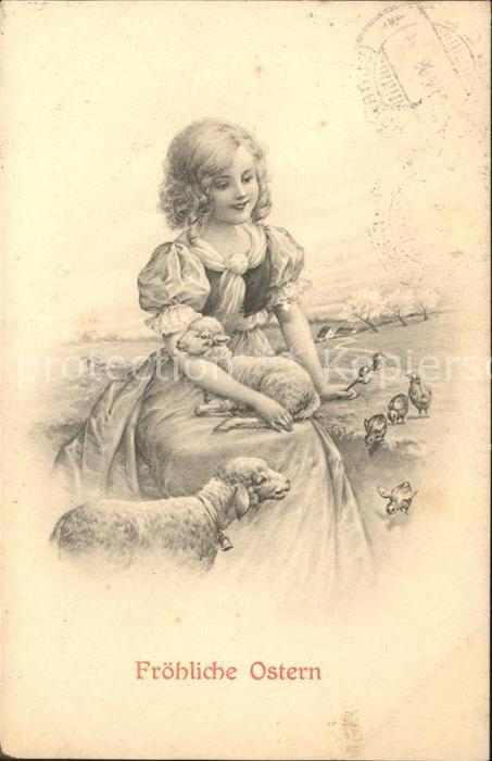Ostern Easter Paques Kind Maedchen Lamm Schaf Kueken  / Greetings /