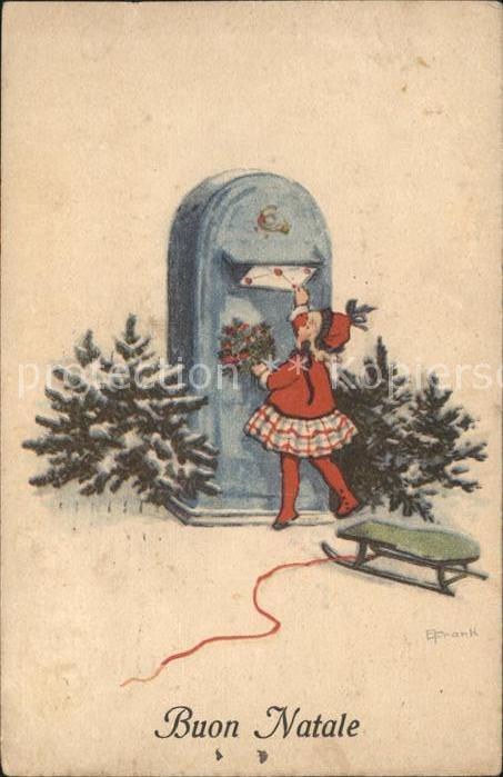 Briefkasten Kind Brief Schlitten Weihnachten  Kat. Post 0