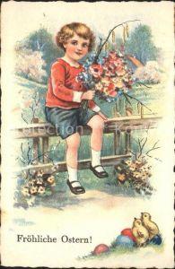Ostern Easter Paques Kind Kueken Blumen Ostereier Litho / Greetings /