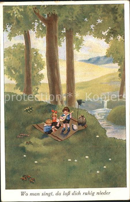 Kinder Child Enfants Picknick Mandoline Musik  Kat. Kinder
