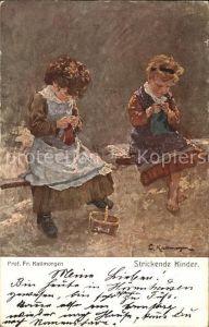 Handarbeit Stricken Kuenstlerkarte Prof. Fr. Kallmorgen Strickende Kinder Nr. K 1226 Kat. Handarbeit