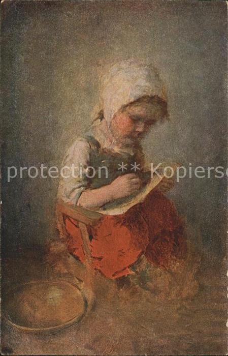 Kaulbach Hermann Aller Anfang ist schwer Nr. 66 Kind schreiben  Kat. Kuenstlerkarte