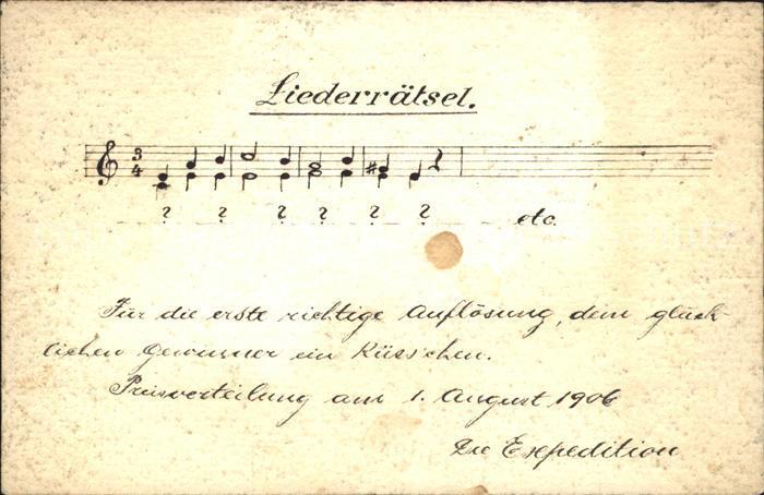 Liederkarte Liederraetsel Noten  Kat. Musik