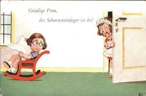 Verlag WS SB Nr. 8530 2 Hausmaedchen Schaukelstuhl Zeitung Schornsteinfeger Kat. Verlage
