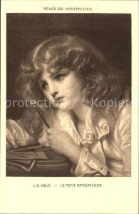 Kuenstlerkarte J. B. Greuze Le Petit Mathematicien  Kat. Kuenstlerkarte