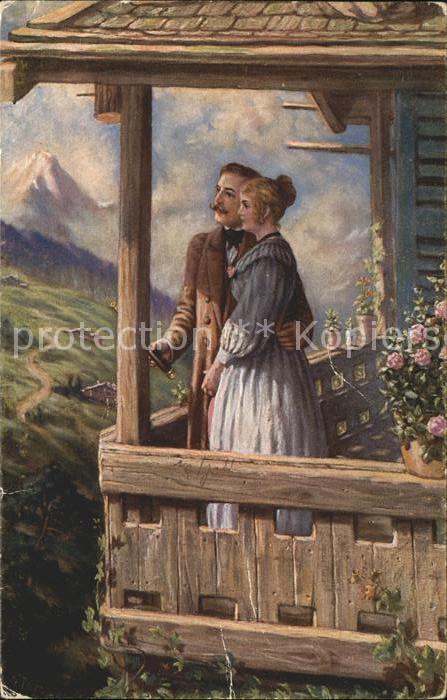 Kuenstlerkarte R. de Witt Nr. 4586 Deutsche Meister Paar Fernrohr Berge  Kat. Kuenstlerkarte