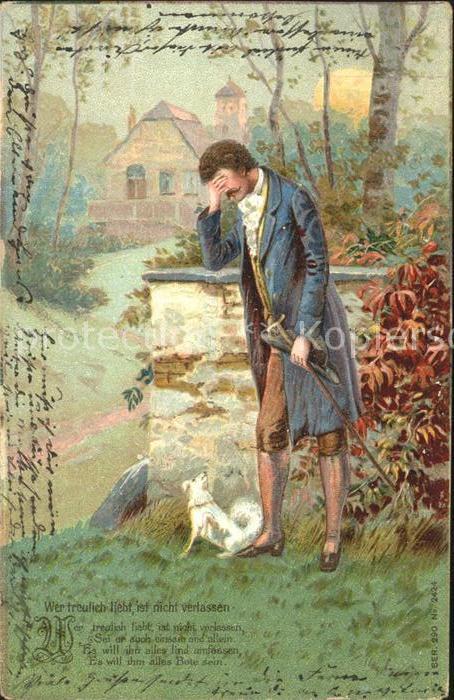 Hunde Mann Gedicht Wer treulich liebt ist nicht verlassen Litho  Kat. Tiere