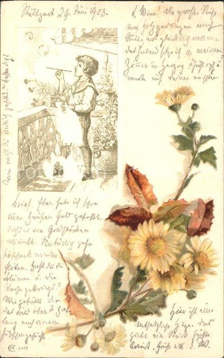 Blumen Margeriten Kind Seifenblasen Litho Kat. Pflanzen