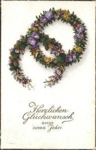 Neujahr Blumen Blumenkranz Tannenzapfen Litho Kat. Greetings