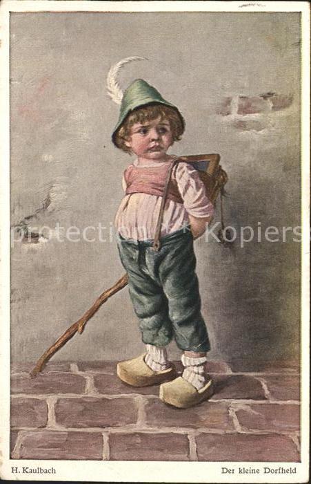 Kaulbach Hermann Der kleine Dorfheld Kind Schultafel  Kat. Kuenstlerkarte