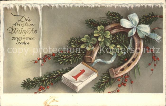Hufeisen Kalender Neujahr Kleeblaetter Schleife  Kat. Greetings