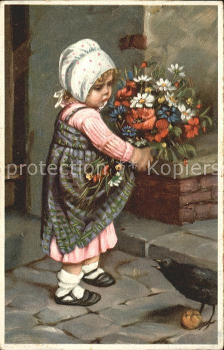 Kinder Child Enfants Blumen Blumestrauss Rabe  Kat. Kinder