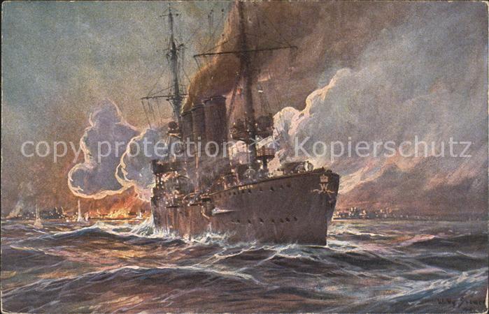 Marine WK1 Beschiessung Madras Britisch Ostindien S.M. Kreuzer Emden Prof. Willy Stoewer Kolonialkriegerdank Kat. WK1
