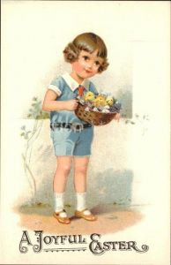 Ostern Easter Paques Kind Kueken Blumen Litho / Greetings /