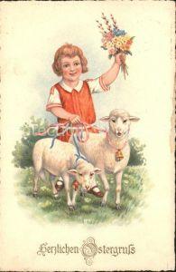 Ostern Easter Paques Schafe Kind Blumen Weidenkaetzchen Litho / Greetings /